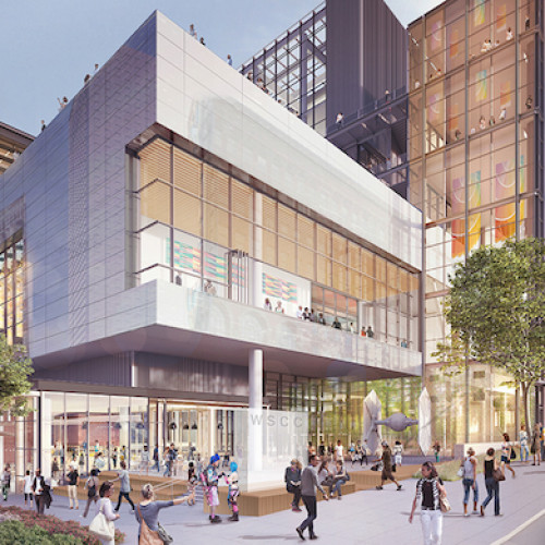 A digital rendering of the Washington State Convention Center addition; to bring public benefits to the Seattle community.
