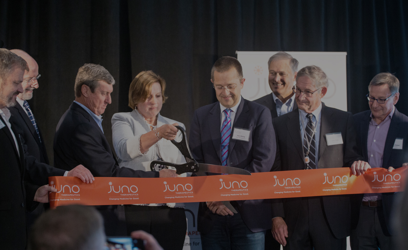 The executive team at Juno Therapeutics, a Seattle-based biotech company, cut the ribbon at their new headquarters.